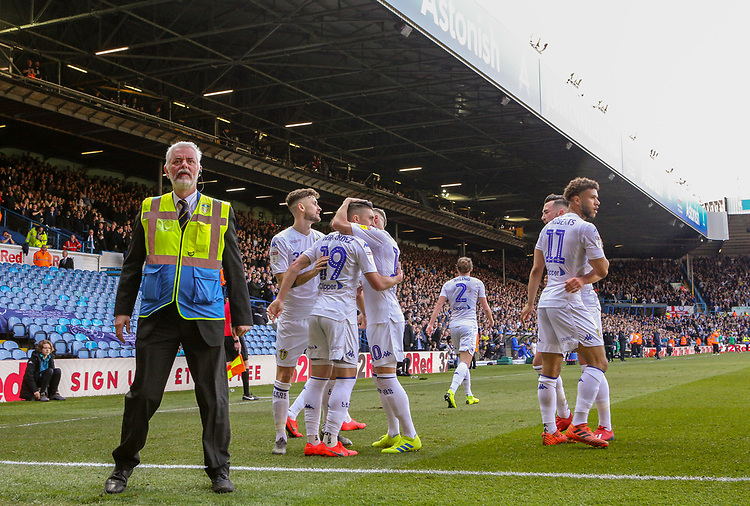 Leeds United's Pablo Hernandez celebrates scoring his side's first goal with teammates<br /> <br /> Photographer Alex Dodd/CameraSport<br /> <br /> The EFL Sky Bet Championship - Leeds United v Millwall - Saturday 30th March 2019 - Elland Road - Leeds<br /> <br /> World Copyright © 2019 CameraSport. All rights reserved. 43 Linden Ave. Countesthorpe. Leicester. England. LE8 5PG - Tel: +44 (0) 116 277 4147 - admin@camerasport.com - www.camerasport.com