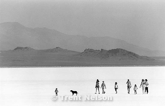 People walking on the salt flats.<br />