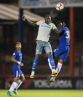 Oumar Niasse of Everton wins the ball in the air during the U23 Premier League 2 match between Chelsea and Everton at the EBB Stadium, Aldershot, England on 25 August 2017. Photo by Andy Rowland.