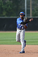 JaVon Shelby (5) of the Kentucky Wildcats in the field during a game against the UC Santa Barbara Gauchos at Caesar Uyesaka Stadium on March 20, 2015 in Santa Barbara, California. UC Santa Barbara defeated Kentucky, 10-3. (Larry Goren/Four Seam Images)