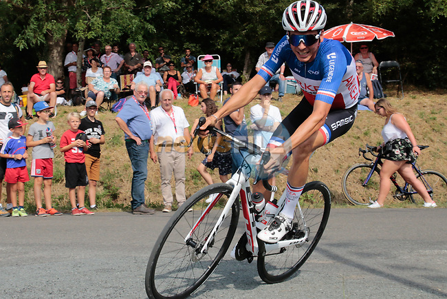 French Champion Warren Barguil (FRA) Arkea-Samsic in action during the Criterium Castillon La Bataille 2019 the first criterium after the Tour de France held around Ville de Castillon-la-Bataille, France. 6th August 2019.<br /> Picture: Colin Flockton | Cyclefile<br /> All photos usage must carry mandatory copyright credit (© Cyclefile | Colin Flockton)