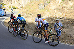 Nicolas Roche (IRL) BMC Racing Team, Andrey Zeits (KAZ) Astana and Gorka Izaguirre Insausti (ESP) Bahrain-Merida on the slopes of Sierra de la Alfaguara near the finish of Stage 4 of the La Vuelta 2018, running 162km from Velez-Malaga to Alfacar, Sierra de la Alfaguara, Andalucia, Spain. 28th August 2018.<br /> Picture: Eoin Clarke   Cyclefile<br /> <br /> <br /> All photos usage must carry mandatory copyright credit (&copy; Cyclefile   Eoin Clarke)