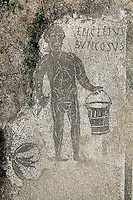 Mosaic of Epictetus Buticosus holding a bucket, Terme del bagnino Buticosus (Baths of the Baths-Superintendent Buticosus), 2nd century AD, Ostia Antica, Italy. Picture by Manuel Cohen