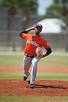 Miami Marlins pitcher Sandy Alcantara (22) during a Minor League Spring Training game against the St. Louis Cardinals on March 26, 2018 at the Roger Dean Stadium Complex in Jupiter, Florida.  (Mike Janes/Four Seam Images)