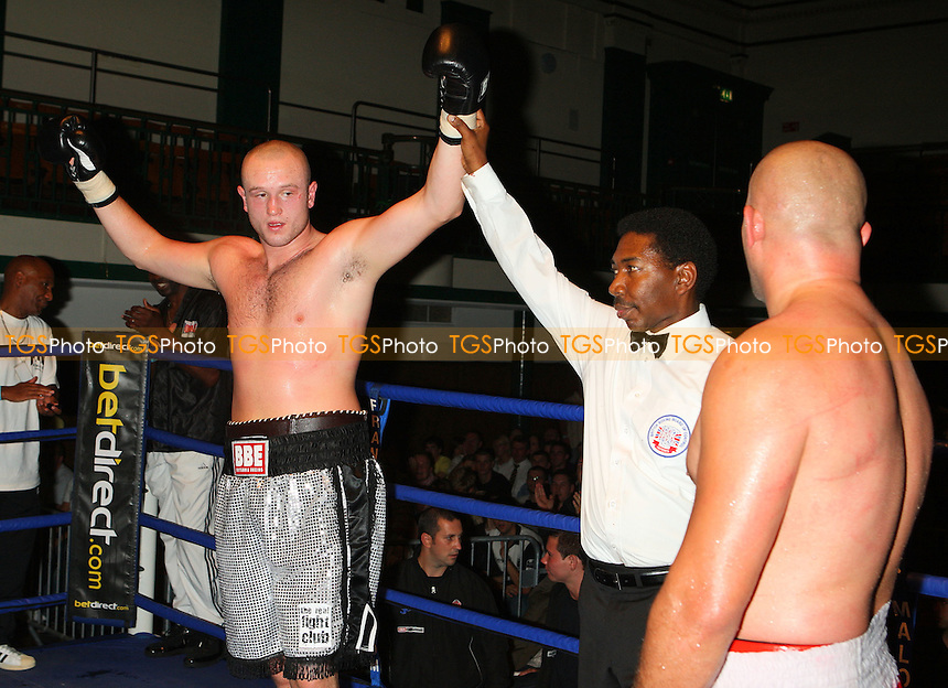 Scott Belshaw (Lisburn, silver shorts) defeats Pavol Polakovic (Czech Republic, red shorts) in a Heavyweight contest at York Hall, Bethnal Green, promoted by Maloney Promotions - 13/09/08 - MANDATORY CREDIT: Gavin Ellis/TGSPHOTO - Self billing applies where appropriate - 0845 094 6026 - contact@tgsphoto.co.uk - NO UNPAID USE.