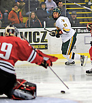 19 January 2008: University of Vermont Catamounts' forward Corey Carlson, a Junior from Two Harbors, MN, in action against the Northeastern University Huskies at Gutterson Fieldhouse in Burlington, Vermont. The Catamounts defeated the Huskies 5-2 to close out their 2-game weekend series...Mandatory Photo Credit: Ed Wolfstein Photo