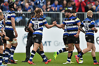 Max Clark of Bath Rugby celebrates his try with team-mate Nathan Catt. Aviva Premiership match, between Bath Rugby and Gloucester Rugby on April 30, 2017 at the Recreation Ground in Bath, England. Photo by: Patrick Khachfe / Onside Images