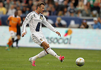 CARSON, CA - DECEMBER 01, 2012:   David Beckham (23) of the Los Angeles Galaxy makes a pass against the Houston Dynamo during the 2012 MLS Cup at the Home Depot Center, in Carson, California on December 01, 2012. The Galaxy won 3-1.