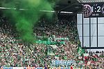 12.05.2018, OPEL Arena, Mainz, GER, 1.FBL, 1. FSV Mainz 05 vs SV Werder Bremen<br /> <br /> im Bild<br /> Werder Bremen Fans feiern den Abstieg von Hamburger SV / HSV in die 2. Liga mit Bannern, Spruchb&auml;ndern, Applaus, Jubel, Pyrotechnik, Gesang, Stadionuhr &quot;Game over !!&quot;, &quot;Absteiger&quot;, &quot;Demontageservice WB&quot;, <br /> <br /> Foto &copy; nordphoto / Ewert