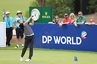 Marcus Kinhult (SWE) on the 13th tee during the 3rd round of the DP World Tour Championship, Jumeirah Golf Estates, Dubai, United Arab Emirates. 17/11/2018<br /> Picture: Golffile | Fran Caffrey<br /> <br /> <br /> All photo usage must carry mandatory copyright credit (© Golffile | Fran Caffrey)