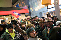 A prayer vigil is held in Times Square for the victims and survivors of the earthquake that devastated Haiti on January 12, 2010.