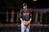 Modesto Nuts relief pitcher Anthony McIver (33) prepares to deliver a pitch during a California League game against the San Jose Giants at San Jose Municipal Stadium on May 15, 2018 in San Jose, California. Modesto defeated San Jose 7-5. (Zachary Lucy/Four Seam Images)