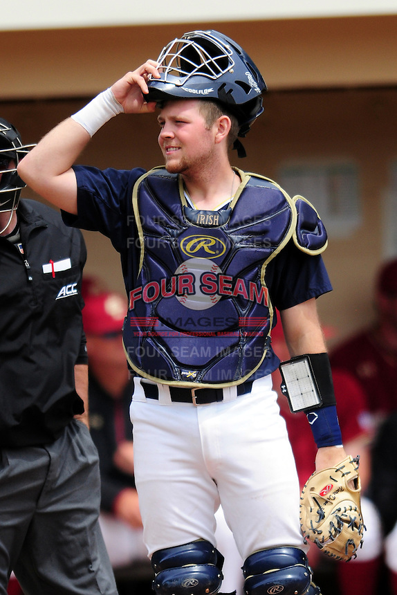 Notre Dame Fighting Irish catcher Ryan Lidge (36) during a game versus the Boston College Eagles at Pellagrini Diamond at Shea Field on May 15, 2015 in Chestnut Hill, Massachusetts.  (Ken Babbitt/Four Seam Images)