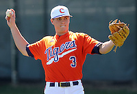Clemson outfielder Jeff Schaus (3) prior to a game between the Charlotte 49ers and Clemson Tigers Feb. 22, 2009, at Doug Kingsmore Stadium in Clemson, S.C. (Photo by: Tom Priddy/Four Seam Images)
