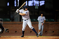 Pensacola Blue Wahoos third baseman Taylor Sparks (27) at bat during a game against the Mobile BayBears on April 25, 2017 at Hank Aaron Stadium in Mobile, Alabama.  Mobile defeated Pensacola 3-0.  (Mike Janes/Four Seam Images)