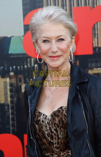 DAME HELEN MIRREN.European Premiere of 'Arthur' at Cineworld, O2 Arena, London, England, April 19th 2011..half length brown leopard print dress back leather jacket hoop earrings silver necklace .CAP/ROS.©Steve Ross/Capital Pictures