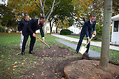 Washington, DC - October 28, 2009 -- United States President Barack Obama, along with Grounds Superintendent Dale Haney and Chief Usher Rear Admiral Stephen W. Rochon (Retired), participates in a commemorative tree planting ceremony on the North Grounds of the White House, October 28, 2009. .Mandatory Credit: Chuck Kennedy - White House via CNP