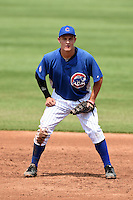 Domenic DeRenzo (16) of Central Catholic High School in Pittsburgh, Pennsylvania playing for the Chicago Cubs scout team during the East Coast Pro Showcase on August 1, 2014 at NBT Bank Stadium in Syracuse, New York.  (Mike Janes/Four Seam Images)