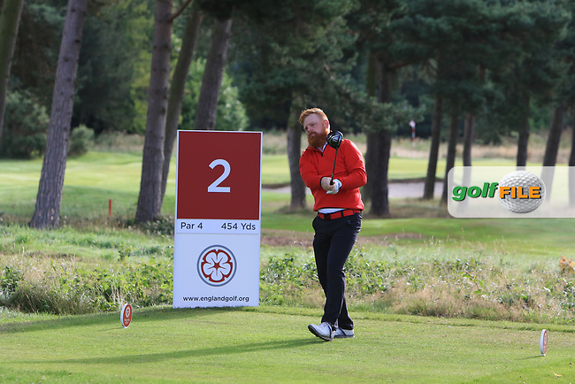 Llewellyn Matthews (Wales) on the 2nd tee during the Foursomes on Day 1 of the Home Internationals at Moortown Golf Club, Leeds, England. 16/08/2017<br /> Picture: Golffile | Thos Caffrey<br /> <br /> All photo usage must carry mandatory copyright credit     (&copy; Golffile | Thos Caffrey)