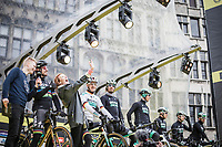 World Champion Peter Sagan (SVK/Bora Hansgrohe) team presentation on the spectacular start podium in the center square of the race start town of Antwerp<br /> <br /> 102nd Ronde van Vlaanderen 2018 (1.UWT)<br /> Antwerpen - Oudenaarde (BEL): 265km