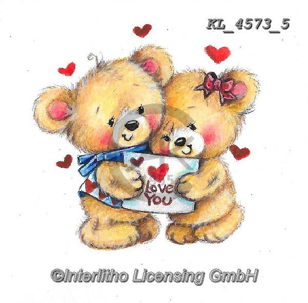VALENTINE, VALENTIN, paintings+++++,KL4573/5,#v#, EVERYDAY ,sticker,stickers ,bear,bears