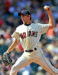 14 September 2008: Cleveland Indians' starting pitcher Jeremy Sowers on the mound against the Kansas City Royals at Progressive Field in Cleveland, Ohio. The Royal defeated the Indians 13-3 to take the 4-game series three games to one...Mandatory Photo Credit: Ed Wolfstein Photo