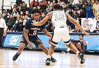 WASHINGTON, DC - NOVEMBER 16: Jameer Nelson Jr. #12 of George Washington defends gainst Sherwyn Devonish #5 of Morgan State during a game between Morgan State University and George Washington University at The Smith Center on November 16, 2019 in Washington, DC.