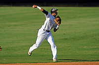 5 May 2012:  FIU shortstop Julius Gaines (2) throws to first base as the FIU Golden Panthers defeated the Middle Tennessee State University Blue Raiders, 12-6, at University Park Stadium in Miami, Florida.
