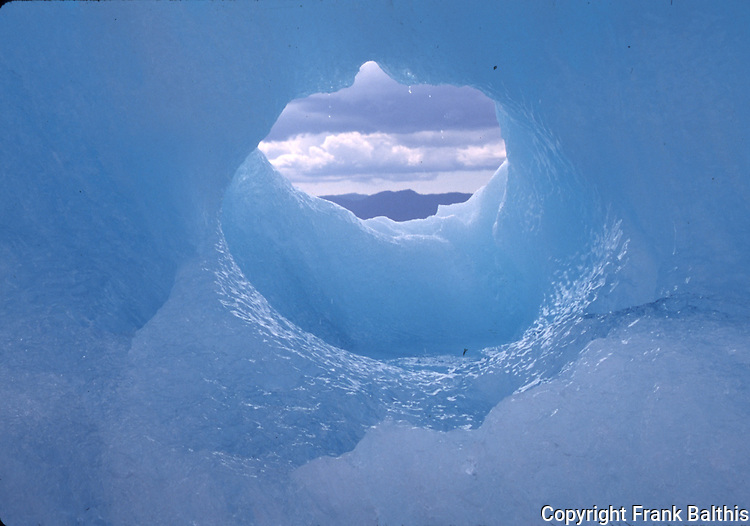 hole in iceberg near Le conte Glacier