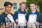 Nasir Khan, Allan Reen and Mark O'Sullivan were happy with their leaving cert results at Killarney Community College on Wednesday......