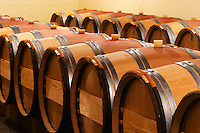 A row of barrels - The barrel cellar for aging the wines in oak casks - Chateau La Grave Figeac, Saint Emilion, Bordeaux