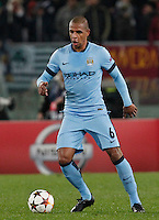 Manchester City's Fernando  during the Champions League Group E soccer match between As Roma and Manchester City  at the Olympic Stadium in Rome December 10 , 2014.