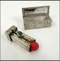 BNPS.co.uk (01202 558833)<br /> Pic: PhilipSerrellAuctions/BNPS<br /> <br /> Italian silver lipstick case with bright red lipstick in which has remained untouched for over 70 years sold for &pound;430.<br /> <br /> A pair of silk frilly knickers worn by Adolf Hitler's mistress Eva Braun for the Nazi dictator have sold at auction for almost &pound;3,500.<br /> <br /> The pair of lilac undies, that have Braun's monogrammed initials embroidered on the front of them, got pulses racing when they went under the hammer. <br /> <br /> The Nazi swas-knickers were liberated by an American serviceman who found them in an abandoned bunker in the Platterhof Hotel next to Hitler's Berghof home in the Bavarian Alps.<br /> <br /> The soldier kept them as a souvenir and took them back to the US with him after the Second World War.