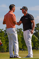 Billy Horschel (USA) and Scott Piercy (USA) shake hands after winning the Zurich Classic of New Orl, TPC Louisiana, Avondale, Louisiana, USA. 4/29/2018.<br /> Picture: Golffile | Ken Murray<br /> <br /> <br /> All photo usage must carry mandatory copyright credit (&copy; Golffile | Ken Murray)