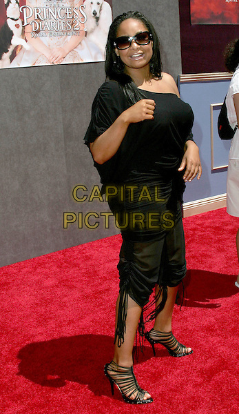 """RAVEN SYMONE.Attends the World Premiere of Walt Disney Pictures' """"The Princess Diaries 2: Royal Engagement"""" held at AMC Downtown Disney in Anaheim, California,.August 7th 2004.full length off the shoulder black top sunglasses cropped trousers.Ref: DVS.www.capitalpictures.com.sales@capitalpictures.com.©Capital Pictures."""