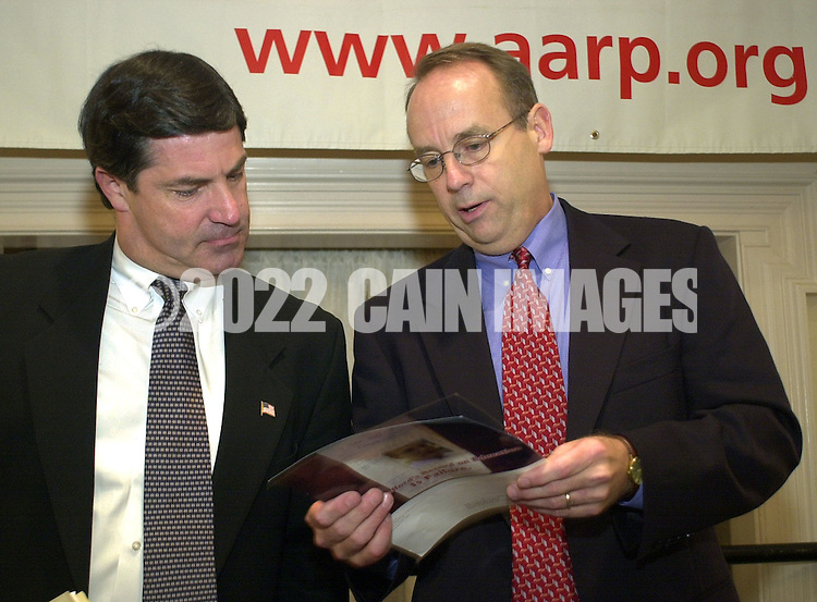 State Senator James Gerlach (R-Pa. 6th Congressional District), left, and Democratic candidate Dan Wofford, right, speak to each other after participating in a Pennsylvania 6th Congressional District candidates forum, sponsored by the AARP, Saturday, October 12, 2002, in Malvern, Pa. The forum is one of nine election forums the AARP is hosting throughout Pennsylvania before election day on November 5th. (Photo by William Thomas Cain/photodx.com)