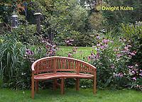 HS73-504z  Garden Bench in Perennial Garden