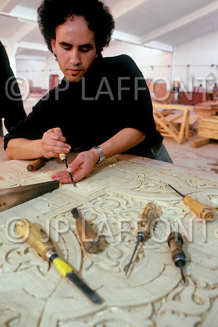 March, 1989, Casablanca, Morocco. Workshop of Mr Bellamine, in charge of painted and carved wood, during the construction of Hassan II Mosque. The mosque was completed in 1993.
