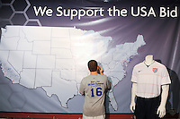 A map of the US showing support for the US World Cup bid during day one of the US Soccer Development Academy  Spring Showcase in Sarasota, FL, on May 22, 2009.