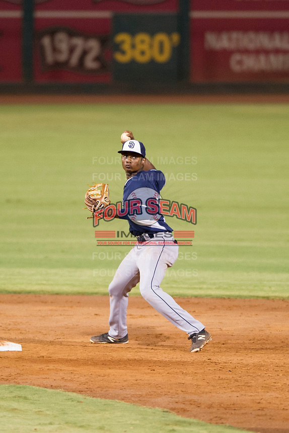 AZL Padres second baseman Esteury Ruiz (13) on defense against the AZL Indians on August 30, 2017 at Goodyear Ball Park in Goodyear, Arizona. AZL Padres defeated the AZL Indians 7-6. (Zachary Lucy/Four Seam Images)