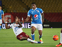 BOGOTA -COLOMBIA, 22-02-2017. Harold Mosquera (R) player of Millonarios  fights for the ball with Victor Giraldo (L) player of Tolima during match for the date 5 of the Aguila League I 2017 played at Nemesio Camacho El Campin stadium . Photo:VizzorImage / Felipe Caicedo  / Staff