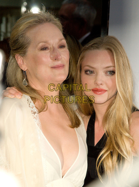"MERYL STREEP & AMANDA SEYFRIED .New York Premiere of ""Mamma Mia!"".at the Ziegfeld Theatre, New York, NY, USA..July 16th, 2008.headshot portrait black white sheer .CAP/LNC.©TOM/LNC/Capital Pictures."