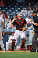 Nashville Sounds catcher Ryan Lavarnway (30) tracks a pop up during a game against the New Orleans Baby Cakes on May 1, 2017 at First Tennessee Park in Nashville, Tennessee.  Nashville defeated New Orleans 6-4.  (Mike Janes/Four Seam Images)