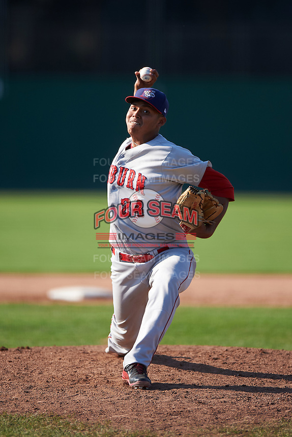 Auburn Doubledays starting pitcher Steven Fuentes (24) during the second game of a doubleheader against the Batavia Muckdogs on September 4, 2016 at Dwyer Stadium in Batavia, New York.  Batavia defeated Auburn 6-5. (Mike Janes/Four Seam Images)
