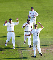 PICTURE BY ALEX WHITEHEAD/SWPIX.COM - Cricket - County Championship Div Two - Yorkshire v Glamorgan, Day 2 - Headingley, Leeds, England - 05/09/12 - Yorkshire players celebrate the wicket of Glamorgan's John Glover (caught by Adam Lyth, bowled by Steven Patterson).