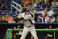 7 March 2012:  FIU infielder Jeremy Bajdaun (41) bats as the Miami Marlins defeated the FIU Golden Panthers, 5-1, at Marlins Park in Miami, Florida.