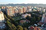 Tirana/Tirane-Albania - August 01, 2004---Partial view of Tirana, capital city of Albania, from the center towards Southwest, with the 'Enver Hoxha' villa in the middle; infrastructure---Photo: © HorstWagner.eu