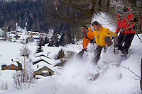 Vallorcine, Mont Blanc, Haute savoie, France, January 2006. Snowshoeing is the fastest growing alpine winter sport in Europe. The tiny village of Vallorcine offers a great base for some spectacular hikes. Photo by Frits Meyst/Adventure4ever.com