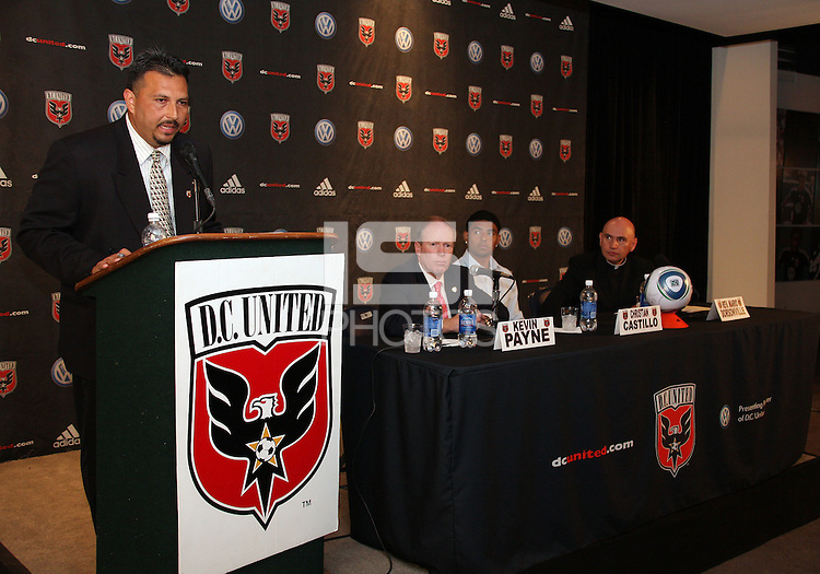 D.C. United press officer Boris Flores at a press conference to announce a charity match between D.C. United and the national team of El Salvador on June 19, 2010. RFK Stadium, Washington DC, May 4 2010.