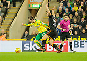 31st October 2017, Carrow Road, Norwich, England; EFL Championship football, Norwich City versus Wolverhampton Wanderers; Norwich City midfielder James Maddison battles with Wolverhampton Wanderers forward Leo Bonatini